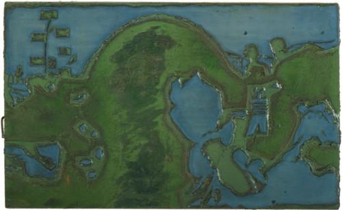 Globe Poster - Blue ribbon farmer fair - Blue hand-carved wood plate