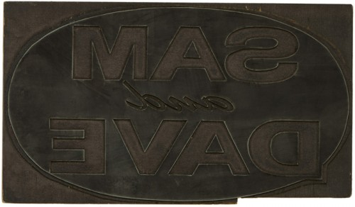 Globe Poster - Sam and Dave Logotype, hand-carved