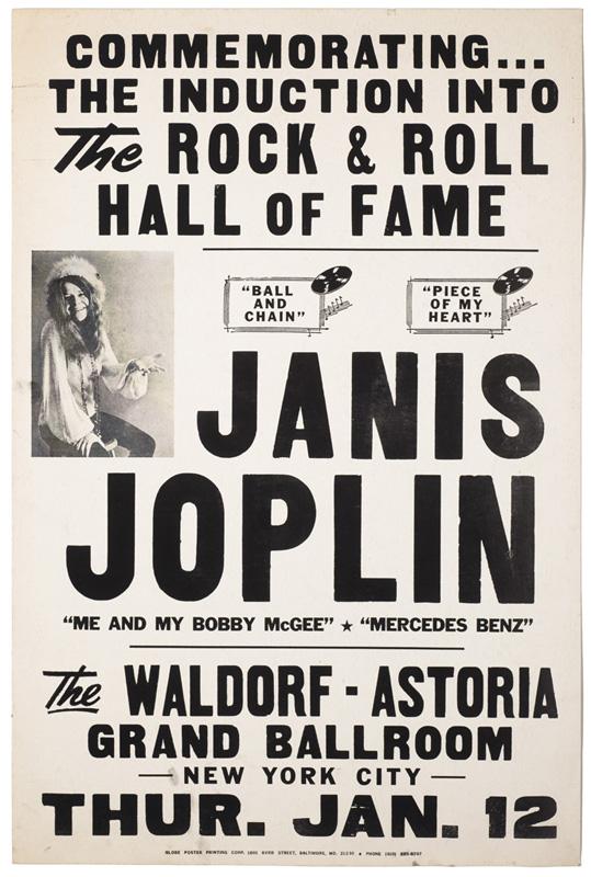 Globe Poster - Janis Joplin HOF Poster - Black plate proof