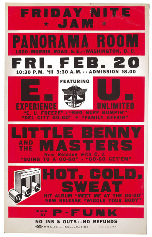 E.U., Little Benny and the Masters, Hot, Cold, Sweat, P-Funk – Concert Poster