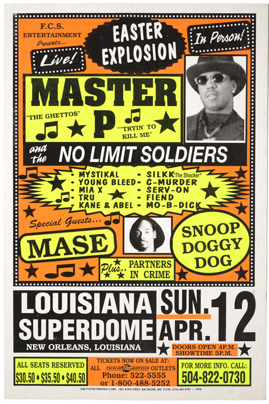 Globe Poster - Master P, Mase, Snoop Doggy Dog - Concert poster