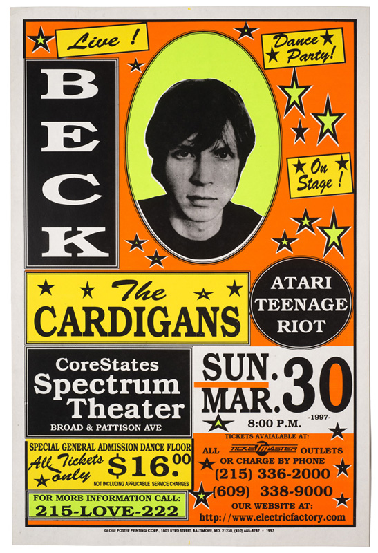 Globe Poster - Beck and The Cardigans - Concert poster