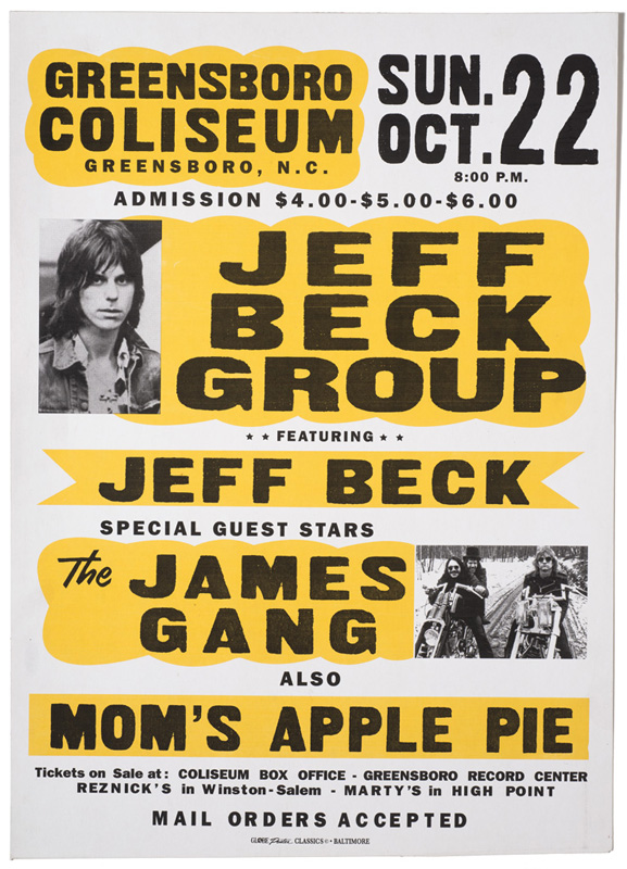Globe Poster - Jeff Beck Group, James Gang - Concert poster