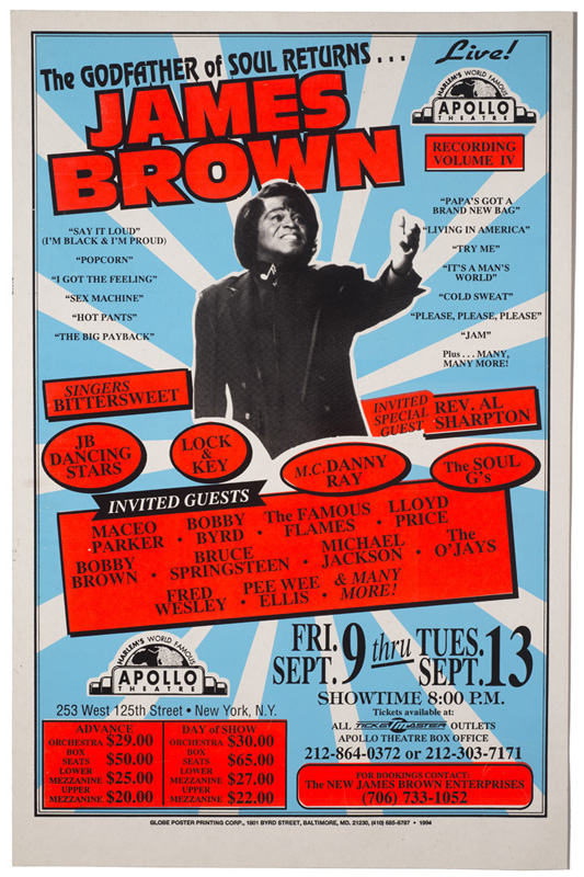 Globe Poster - James Brown, Godfather of Soul Returns, Concert Poster