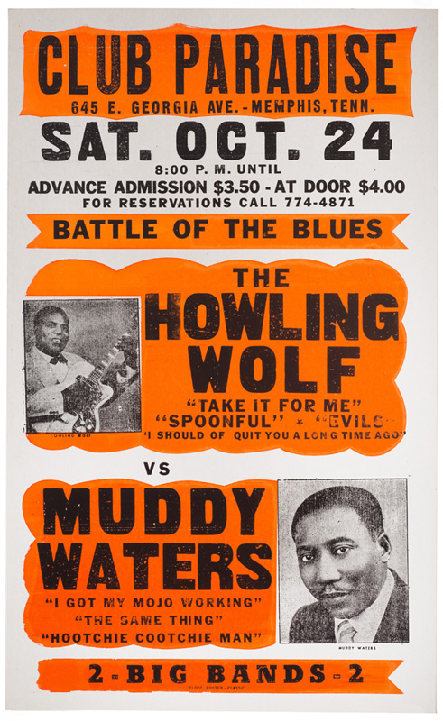 Globe Poster - The Howling Wolf vs. Muddy Waters Concert Poster