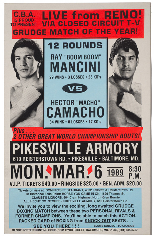 "Ray ""Boom Boom"" Mancini and Hector ""Macho"" Camacho Bout – Boxing Poster"
